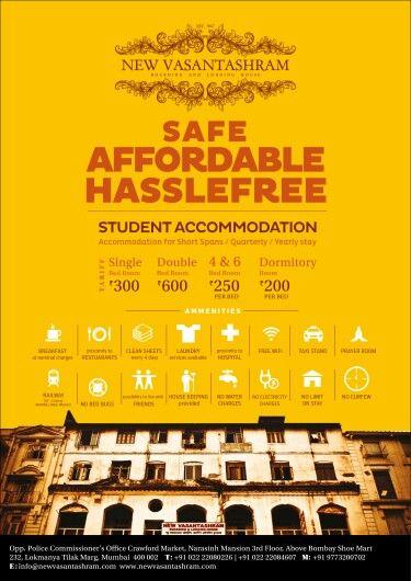 Student accommodation at New Vasantashram. .