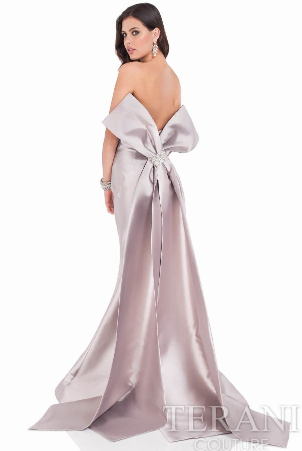 Terani Couture 1621E1465 Taupe Mikado Strapless Gown Large Bow ... a3240e738