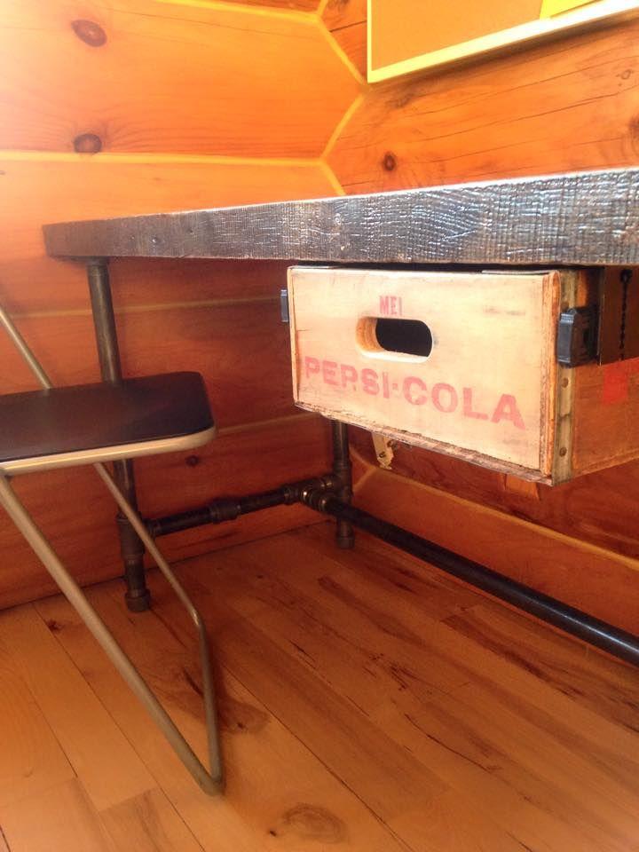 antique pepsi wood crate drawer on black iron pipe desk. Black Bedroom Furniture Sets. Home Design Ideas