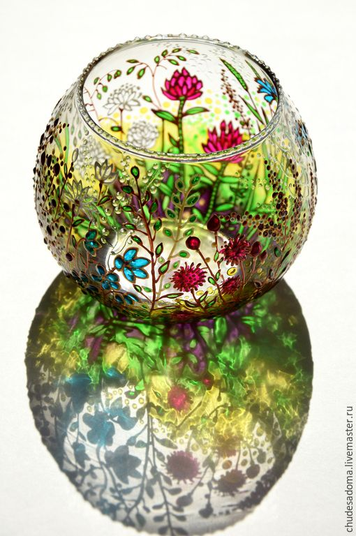 """Купить Подсвечник """"Полевые травы"""" витражная роспись - зеленый, подсвечник из стекла, травы, луговые, цветы"""