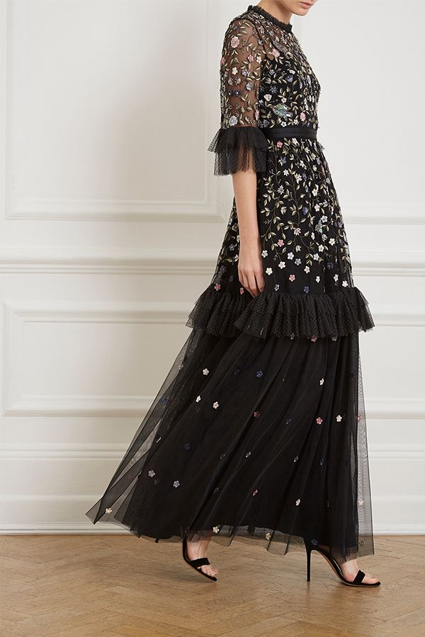 1d5d0f182e05 The Dusk Floral Gown in washed black is developed from a combination of  dotted and plain tulle, decorated with intricate floral embroidery.