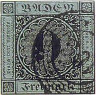 eine der teuersten Briefmarken Deutschlands:  Baden 9 Kreuzer schwarz auf Blaugrün, gestempelt