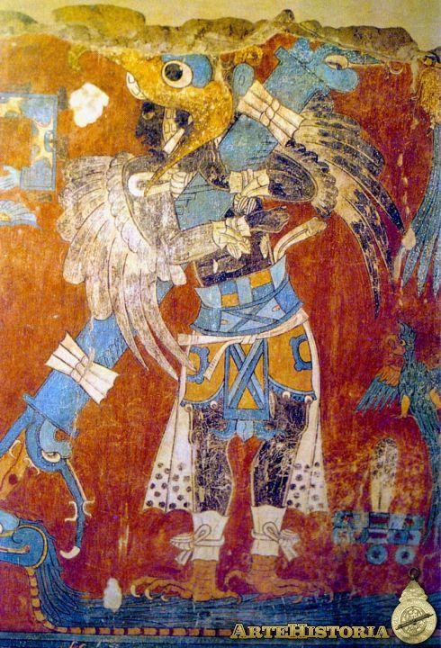 Guerrero águila. Frescos de Cacaxtla, Tlaxcala, México Fechada aprox: 700-900 d.C.