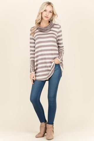 Must have top, Stripe Top Cowl Neck Top Long top top for leggings Boutique