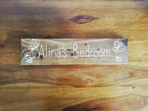 Personalised Wooden Door Sign Kids Bedroom Sign Plaque Wood Whitewash Rainbow Colours Choice Of Colours B Wooden Door Signs Wooden Doors Bedroom Signs