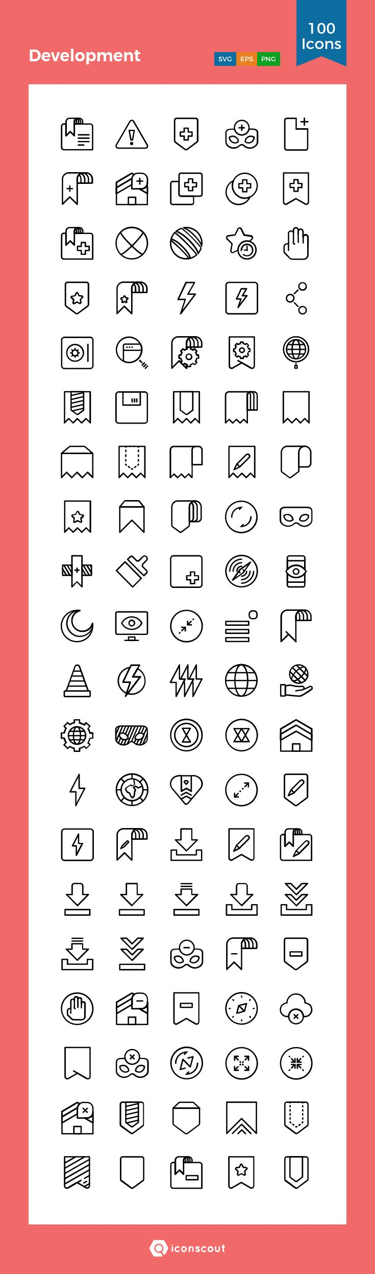 Development   Icon Pack - 100 Line Icons