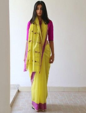 #lime #yellow #chanderi #zari #saree #jaypore