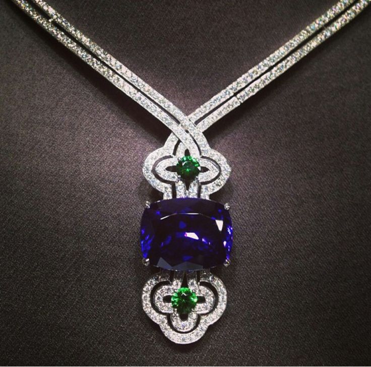 Louis Vuitton ~ Tanzanite, emerald and diamond necklace