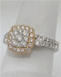 NEW 14K WHITE YELLOW GOLD DIAMOND HALO 1.00ct SQUARE ENGAGEMENT WEDDING RING SET #WeddingRings https://www.eandcweddings.com/product/14k-white-yellow-gold-diamond-halo-1-00ct-square-engagement-wedding-ring-set/