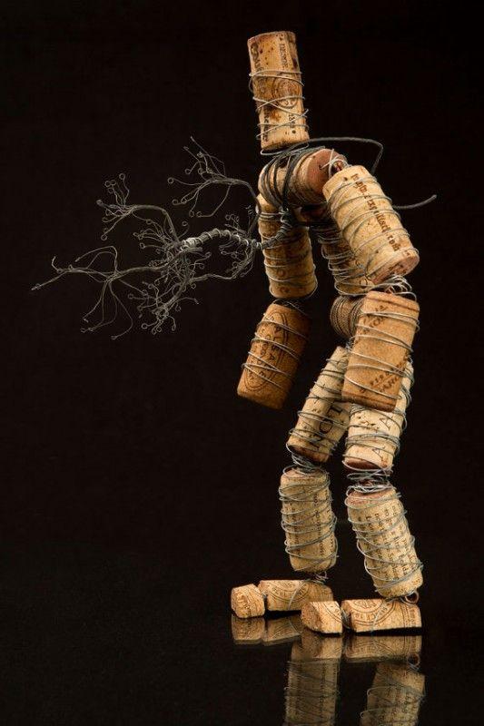The Corkmen in art  with Wire Wine Tree Sculpture natural cork Art