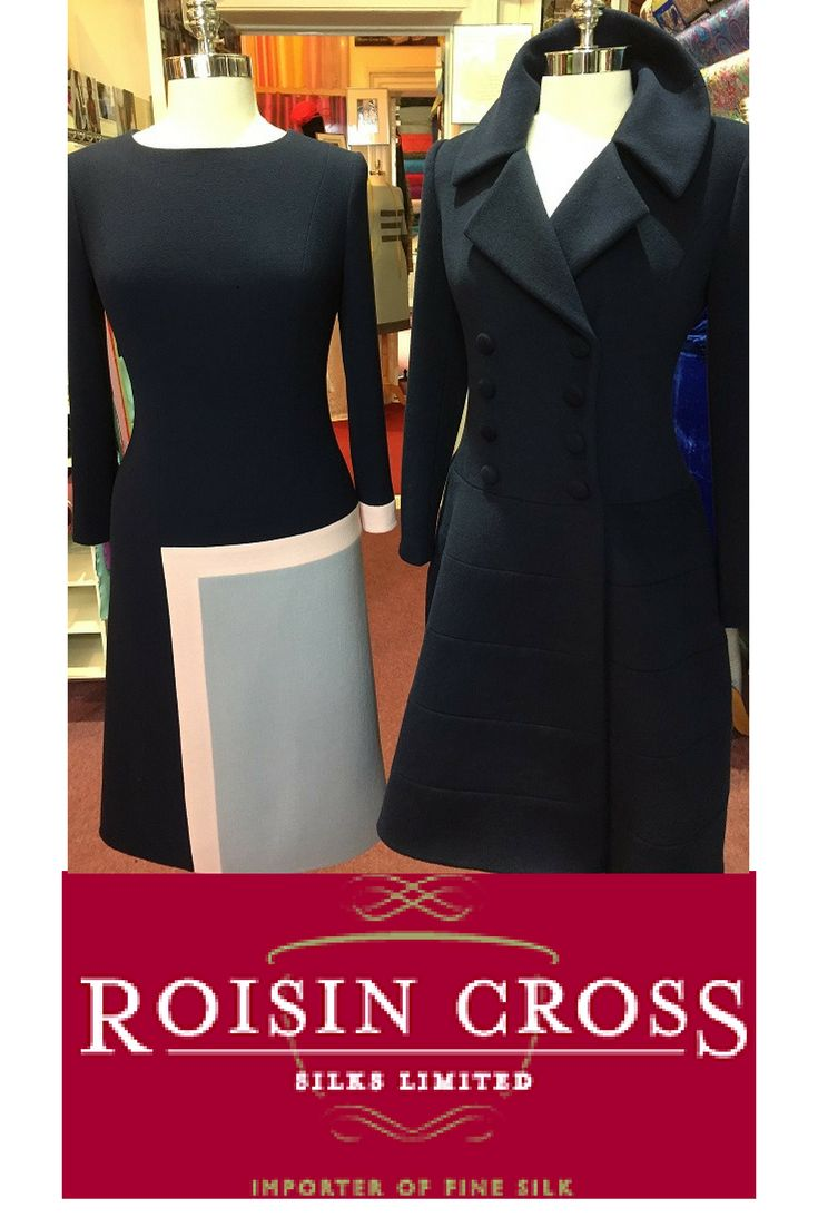 Wool crepe day dress and cashmere coat both desgned and created at Roisin Cross Silks