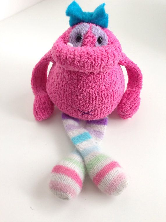 Smug Monster itty bitty one of a kind plush door BirdIsTheWordDesign