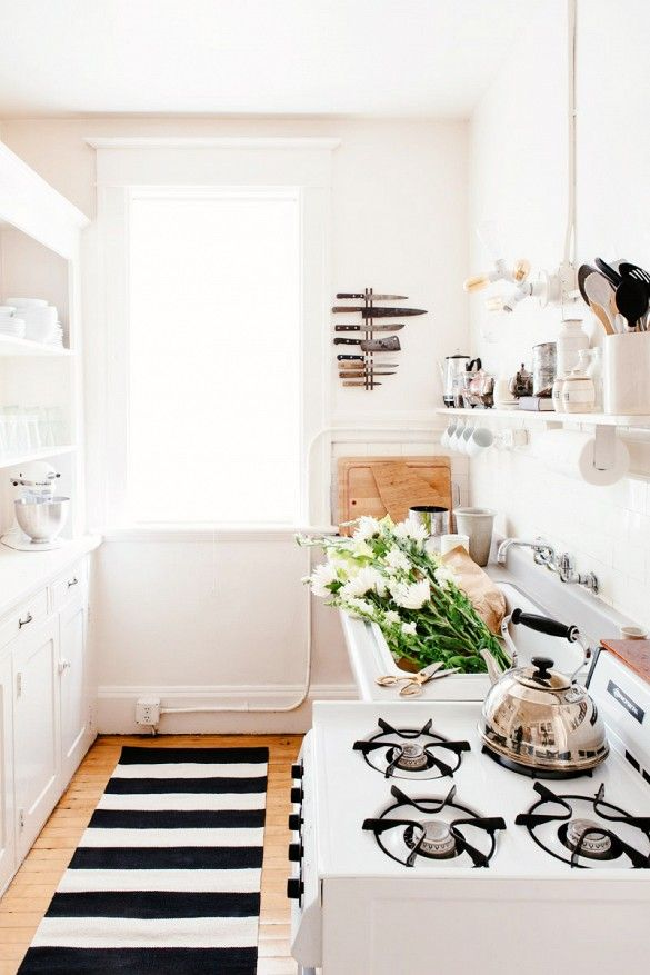 White Rental Galley Kitchen