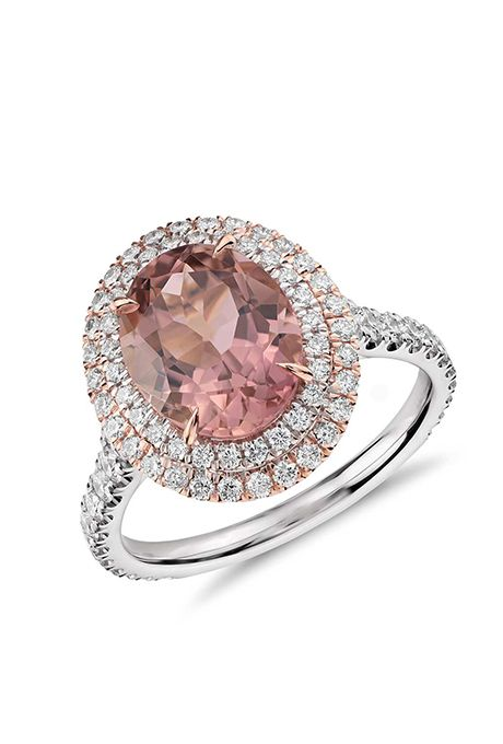 A pink tourmaline and double halo pavé diamond engagement ring in white and rose gold by @bluenile | Brides.com