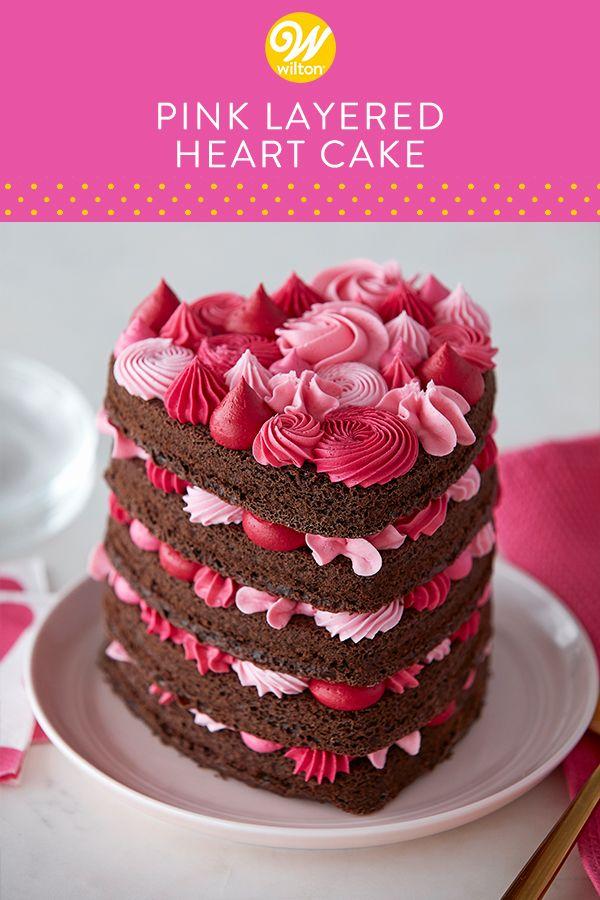 Heart Shaped Cake With Pink Layers Recipe Buttercream Decorating Cake Savoury Cake