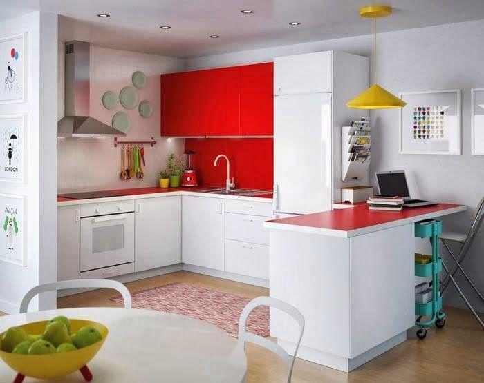#decoracion de #cocina con detalles en #rojo