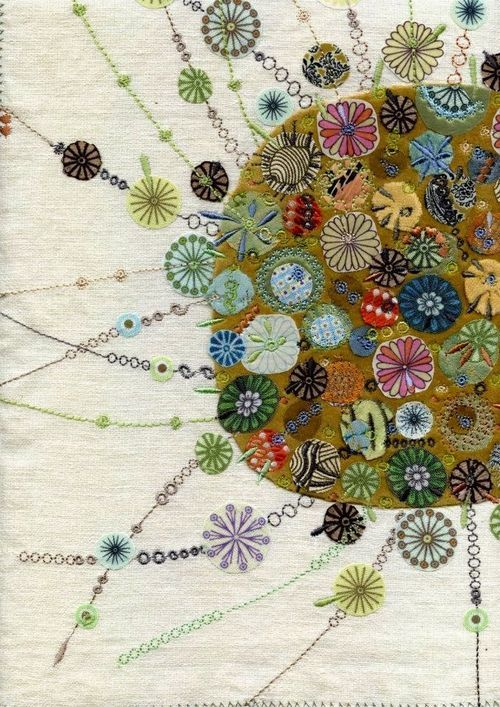 ♒ Enchanting Embroidery ♒ nancy nicholson flower embroidery..contemporary scandi folk art style