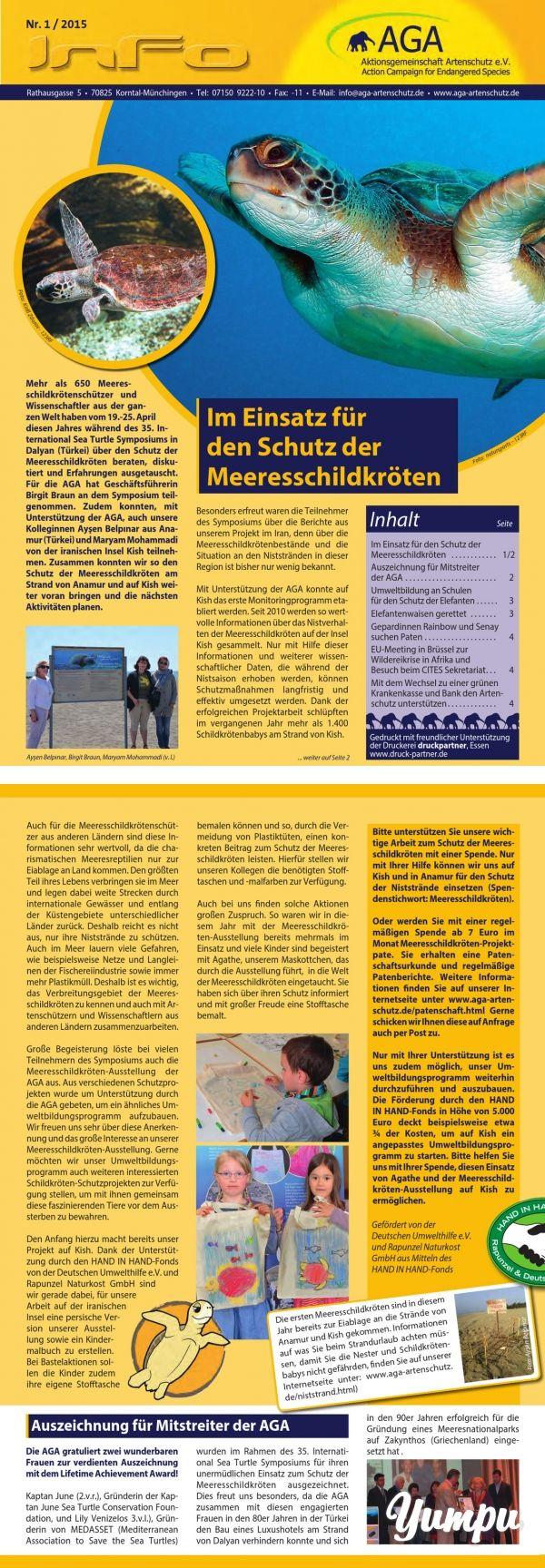 In unserem Rundschreiben berichten wir über unsere Arbeit im Artenschutz und aktuelle Entwicklungen in unseren Projekten. Diese Ausgabe umfasst u.a. folgenden Themen: - Im Einsatz zum Schutz der Meeresschildkröten - Umweltbildung an Schulen für den Schutz der Elefanten - Elefantenwaisen gerettet - Gepardinnen suchen Paten - EU-Meeting in Brüssel zur Wildereikrise in Afrika und Besuch beim CITES-Sekretariat - Mit dem Wechsel zu einer grünen Krankenkasse und Bank den Artenschutz unterstützen