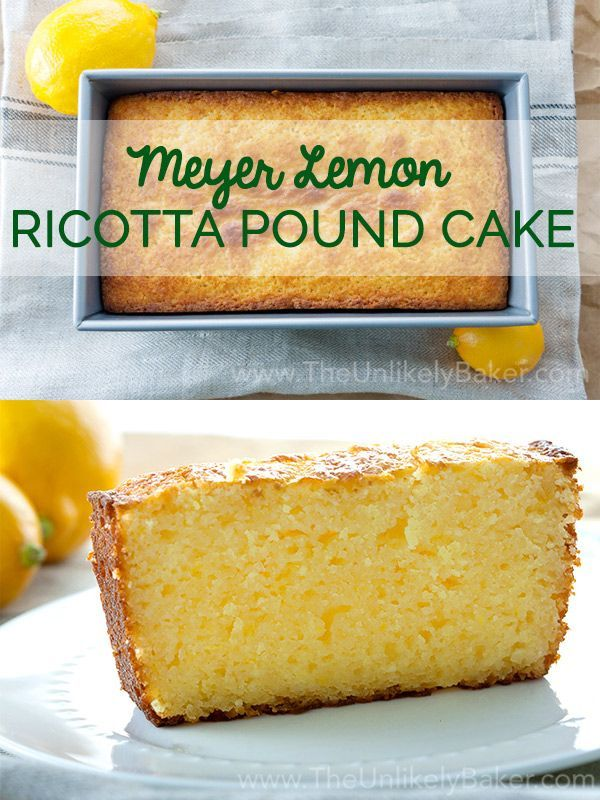 No frosting or glaze is needed on this delightful Meyer lemon ricotta pound cake. Perfect with coffee or tea.