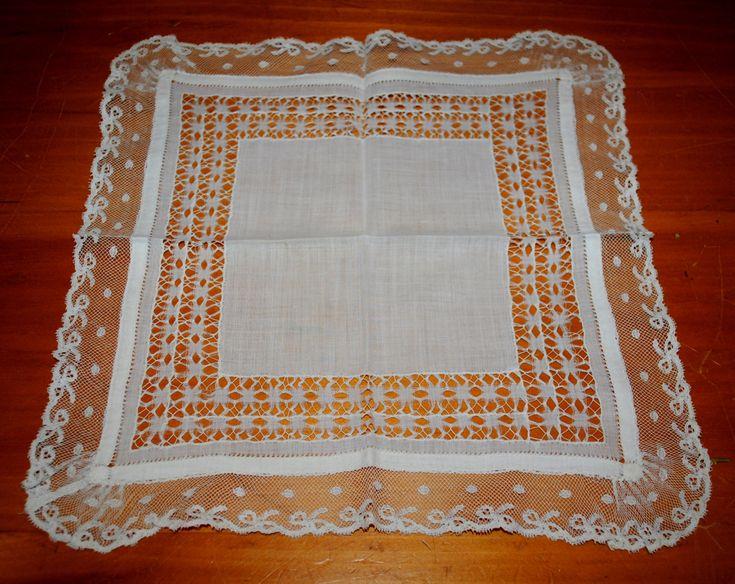 Bridal Handkerchief, Antique, 135 Years Old, 1890's, Wedding Handmade Valenciennes Bobbin Lace Heirloom Handkerchief by TheBouncingFrogs on Etsy