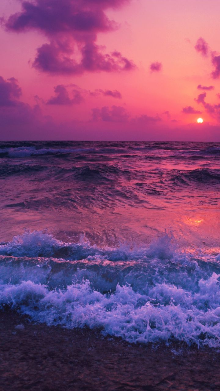 Pink sunset, sea waves, beach, 720x1280 wallpaper Sunset