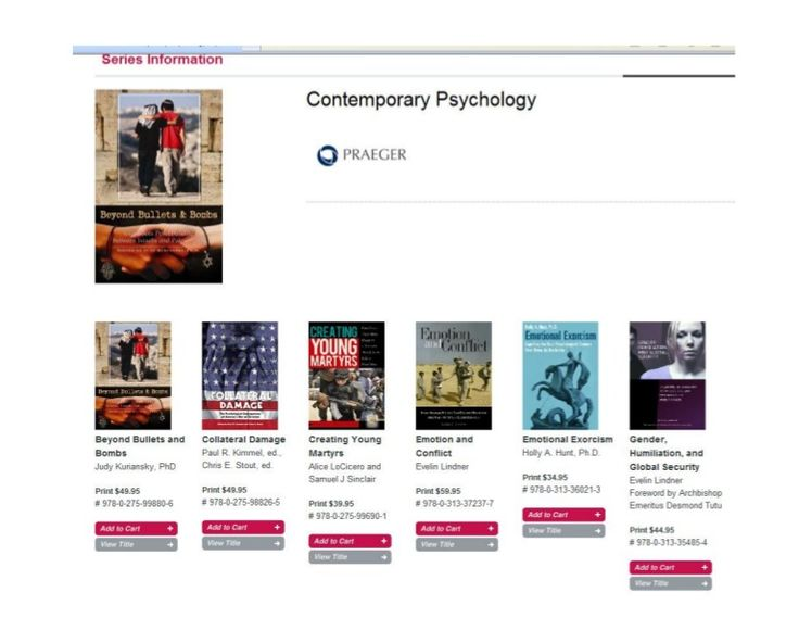 Here's a sample of the titles in my Contemporary Psychology Series with Praeger. http://www.slideshare.net/drchrisstout1/published-titles