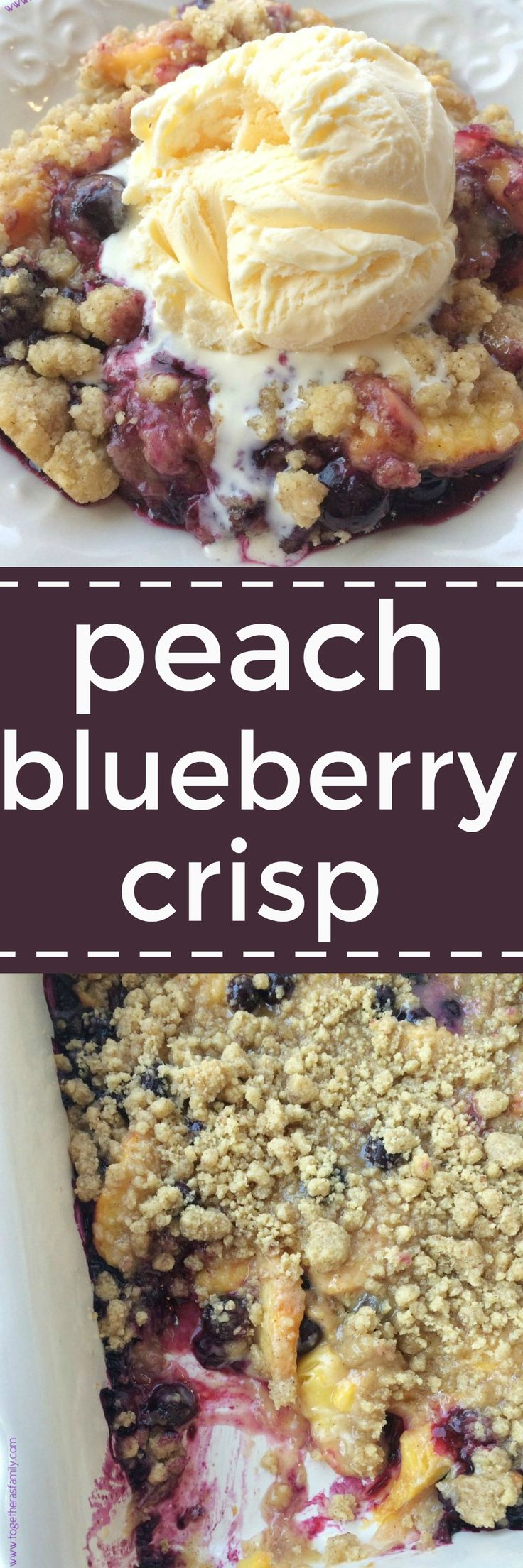 Juicy, fresh peaches and blueberries covered in a butter & brown sugar crumble that crisps up in the oven. This peach blueberry crisp will become a summertime favorite dessert with all the ripe produc