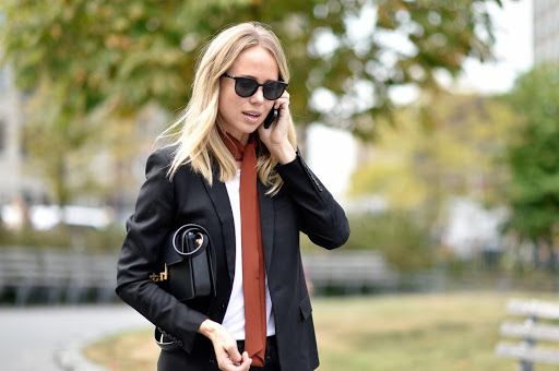 Scarf from PRADA, t-shirt from DAGMAR, blazer and bag from SAINT LAURENT, denim from PAPER DENIM and sunnies from CÉLINE.