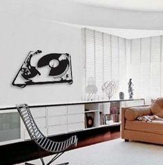 quadro escultura de parede musical toca discos decoração dj