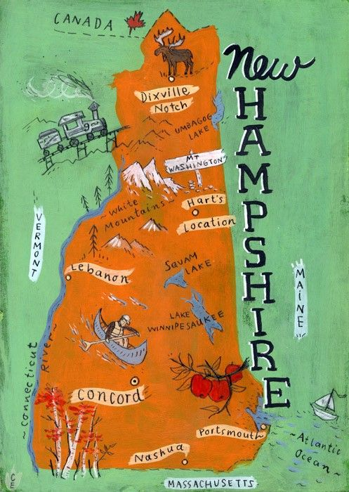 New Hampshire-Karte drucken