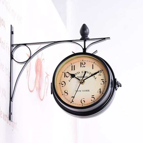 Station Railroad Classic Wall Clock Double Sided Vintage Retro Home Office Decor