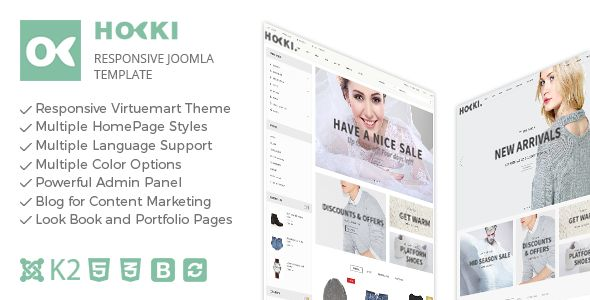 Hoki - Responsive Joomla Virtuemart Template . Hoki has features such as High Resolution: No, Compatible Browsers: IE10, IE11, Firefox, Safari, Opera, Chrome, Edge, Compatible With: VirtueMart 3.0.x, Software Version: Joomla 3.5.x, Joomla 3.4.x, Joomla 3.3.x, Joomla 3.2.x, Joomla 3.1.x, Joomla 3.0.3, Columns: 3