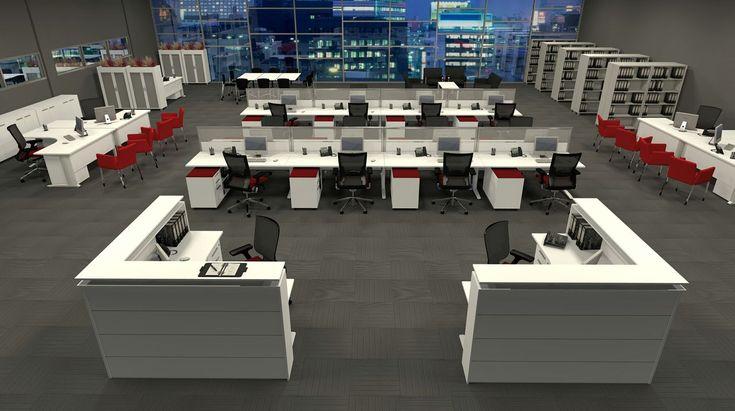 Modern workstation design layout for open plan office for Modern office design layout
