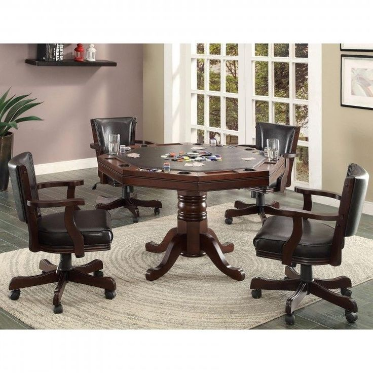 5 Piece Poker Table Set Espresso Finish Convertible Game Table Plus 4 Arm  Chairs