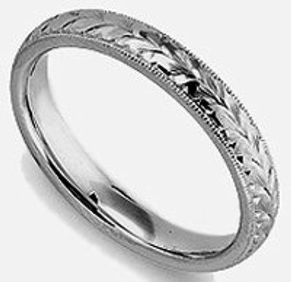 Women S 14k Gold Wedding Ring 3mm Hand Engraved Made To Etsy Wedding Band Engraving Hand Engraved Wedding Band Palladium Wedding Band