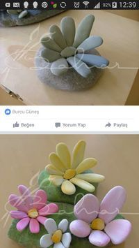 stones flowers - Painted rocks - diy