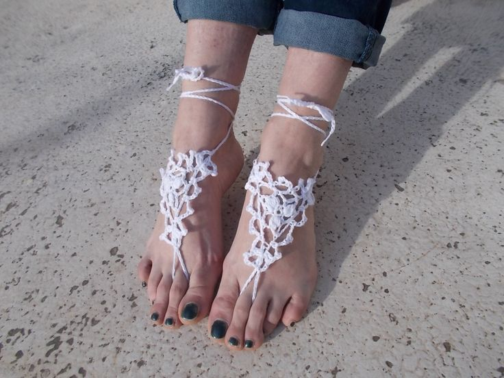 Bridal Barefoot Sandals, White  barefoot sandals, Beach wedding barefoot sandals,Lace shoes,anklet, Foot jewelry by greekfractals on Etsy