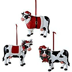 Christmas Cow Ornament 3 Assorted