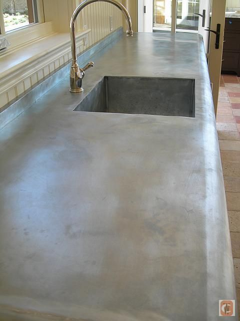zinc-wrapped countertop, wood with zinc wrap. grey patina. LOVE this sink  and counter