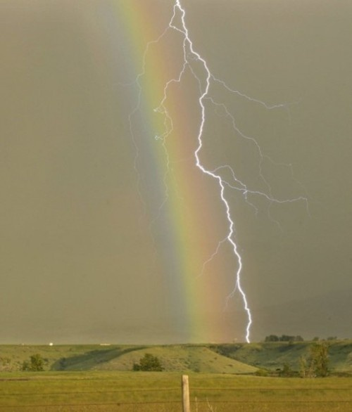 I like to think of this as 'lightning hugging a rainbow'Photos, Lightning, God Is, Beautiful, Rainbows, Mothers Nature, Nature Photography, Storms, Pots Of Gold