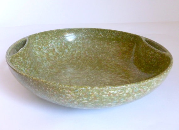 mid century 1950u0027s aztec melmac melamine dinnerware salad serving bowl with handles army green confetti - Melamine Dishes