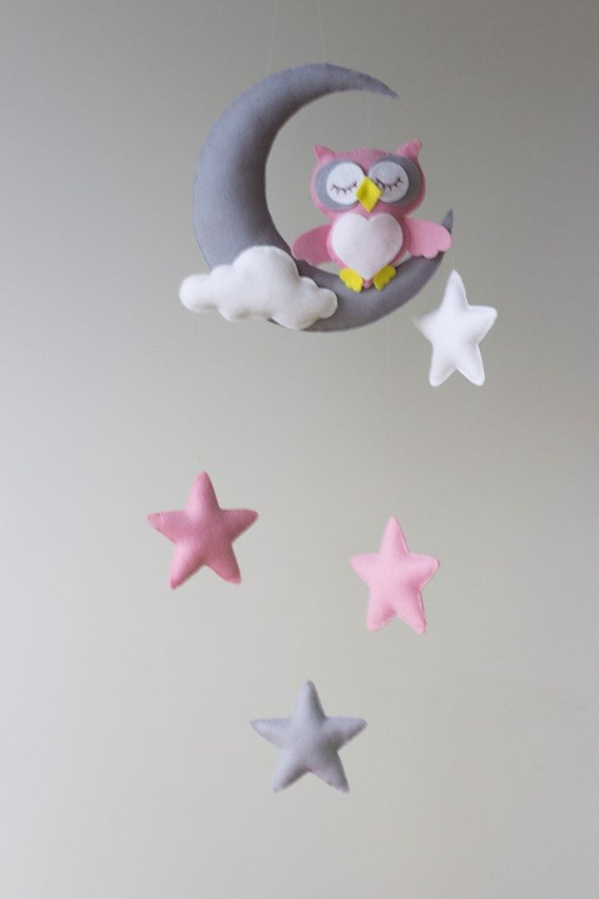 Owl Moon Stars Baby Nursey Mobile Decor Pink Grey White Felt