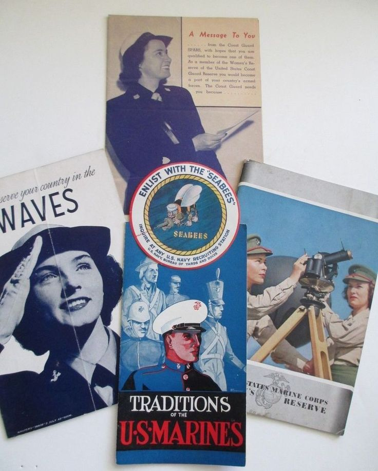 Lot WWII 1943 Womens Marines Navy Coast Guard Recruiting Pamphlets Seabees Decal