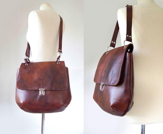Ledertaschen - Elegante Tasche - Kastanienbraun - ein Designerstück von CZAJKACZAJKA bei DaWanda