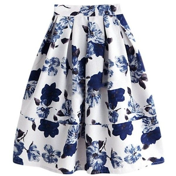 'Courtney' Floral Midi Skirt (3.140 RUB) ❤ liked on Polyvore featuring skirts, flower print skirt, floral skirt, calf length skirts, floral midi skirt and mid calf skirts
