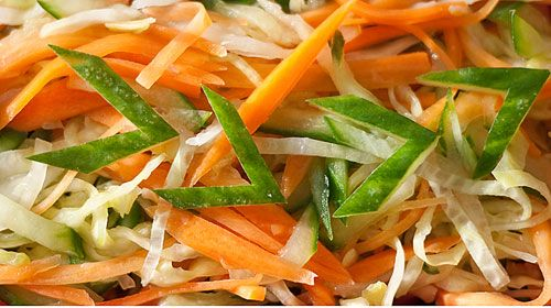 Japanese Shredded Vegetable Pickle Salad: Massage shredded cucumber, carrot, and cabbage with 1 tsp salt. Then mix with 1/2 cup rice vinegar 4 tbs sugar 1 tsp. dashi granules and let sit overnight.