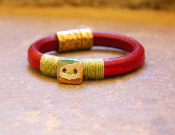 Bordeaux Licorice Leather Bracelet Greek leather by FabLabCrafts