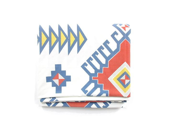 Vintage Southwestern Sheet - Queen Size Flat Bed Sheet - Aztec Inspired Print in Red Yellow & Blue - Cannon Percale Sheet - Boho Bedding by ShopEchoEcho on Etsy