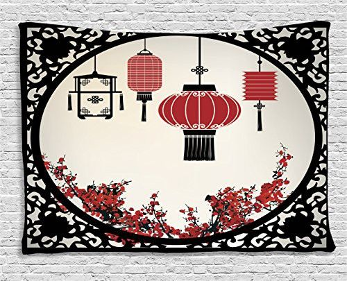 Asian Tapestry Wall Hanging by Ambesonne, Lanterns with Japanese Sakura Cherry Blossom Trees and Round Ornate Figure Graphic, Bedroom Living Room Dorm Decor, 60WX40L Inches, Red Beige Black
