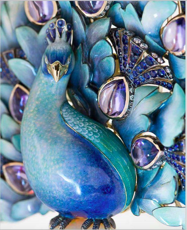 Peacock by russian jeweller Ilgiz F. gold, enamel, sapphires, amethysts